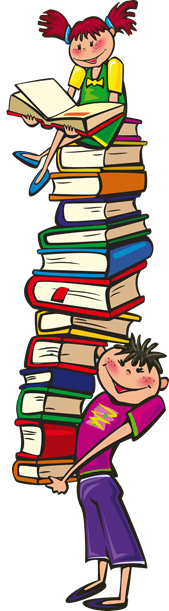Boy balancing books and girl